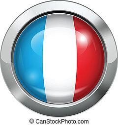 France flag metal button