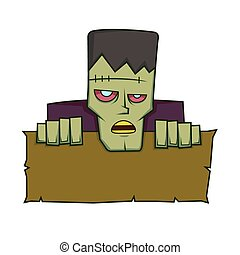 Frankenstein holding a blank sign
