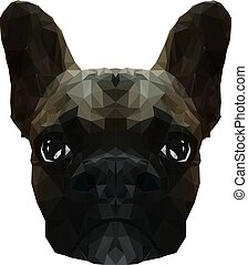 Vector Illustration of French Bulldog in Low Poly Style