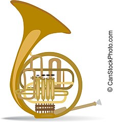 Vector illustration of french horn, flat style design.