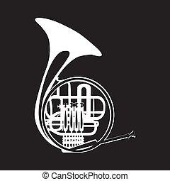 Vector illustration of french horn, white template