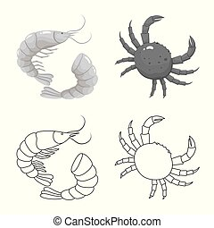 Vector illustration of fresh and restaurant sign. Collection of fresh and marine stock vector illustration.