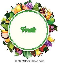 Fresh fruits cartoon - Vector illustration of Fresh fruits...