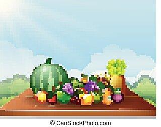 Fresh fruits on table - Vector illustration of Fresh fruits...