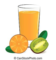 Vector illustration of fresh orange, kiwi juice
