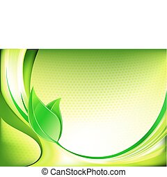 Vector illustration of fresh spring abstract background with green leaves
