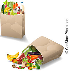 Fresh vegetables and fruits in a paper bag