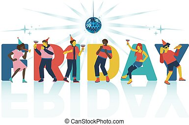 Vector illustration of friday party invitation or banner with word and dancing and having fun people.