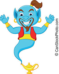 Friendly genie cartoon - Vector illustration of Friendly ...