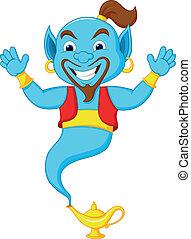 Friendly genie cartoon - Vector illustration of Friendly ...