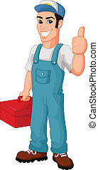 Friendly Mechanic with toolbox givi - vector illustration of...