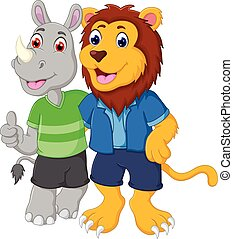 friendship of lion and rhino cartoon hugging with thumb up