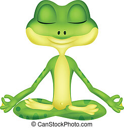 Frog cartoon doing yoga - Vector illustration of Frog...