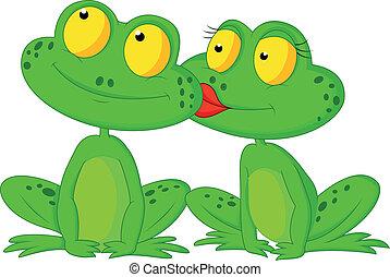 Frog cartoon kissing