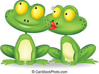 Vector illustration of Frog cartoon kissing
