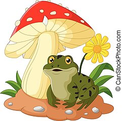 frog cartoon sit under mushroom