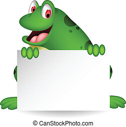 frog cartoon with blank sign - vector illustration of frog...