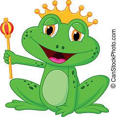 Vector illustration of Frog king cartoon
