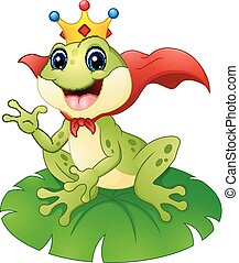 Frog prince cartoon on water lily leaf