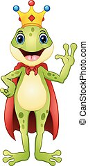 Frog prince cartoon waving hand