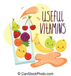 Vector illustration of fruit in a glass, vitamins,  juice,