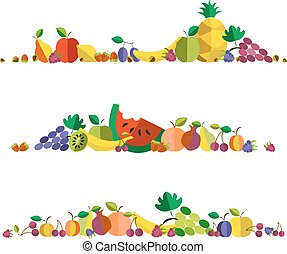 vector illustration of fruit set in flat design style