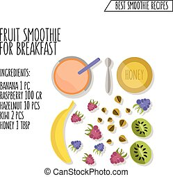vector illustration of fruit smoothie for breakfast recipe hand drawn in flat design style with shadow