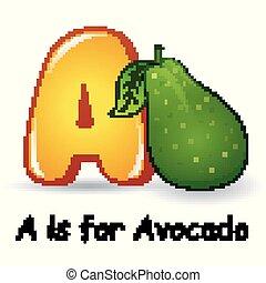 Fruits alphabet: A is for Avocado Fruits