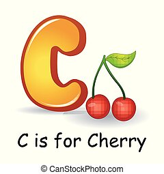 Fruits alphabet: C is for Cherry Fruits - Vector...