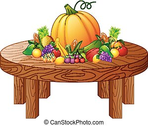 Fruits and vegetables on round wooden table