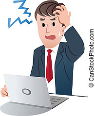 Vector illustration of Frustrated businessman holding his head with left hand against white background.
