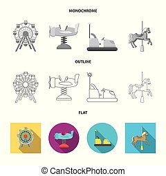Vector illustration of fun and horse icon. Collection of fun and circus stock vector illustration.