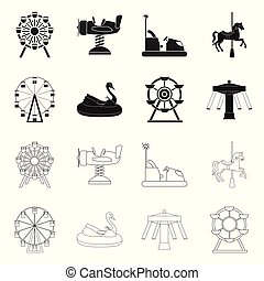 Vector illustration of fun and horse icon. Set of fun and circus stock symbol for web.