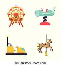 Vector illustration of fun and horse logo. Set of fun and circus stock symbol for web.