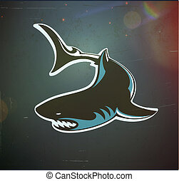 angry shark - Vector illustration of fun cartoon stylized...