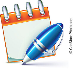 Vector illustration of funky elegant ballpoint pen with cool notebook