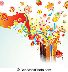 Vector illustration of funky exploding gift surprise