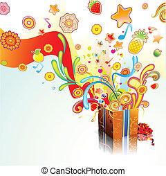 gift surprise - Vector illustration of funky exploding gift...