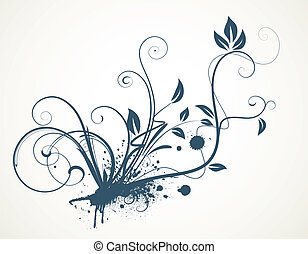 scroll design - Vector illustration of funky Grunge...