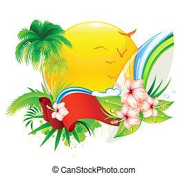 summer background - Vector illustration of funky summer ...