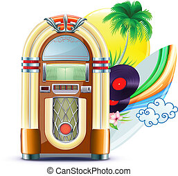 funky summer music background - Vector illustration of funky...
