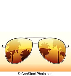 Vector illustration of funky sunglasses with the reflection of palmtrees