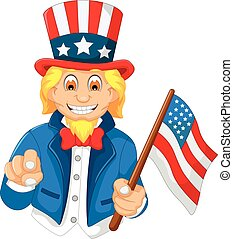 funny American cartoon holding American flag