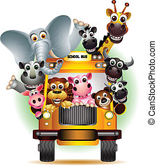 funny animal cartoon on yellow car