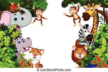 funny animal cartoon with forest