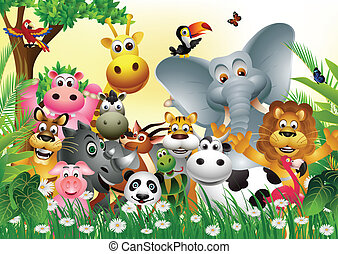 vector illustration of funny animal cartoon with tropical forest background