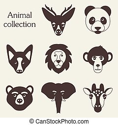 Vector illustration of funny animal icon set