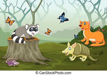 funny animal in the deep forest
