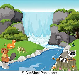 funny animal in the waterfall