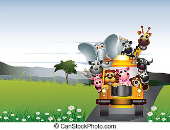 funny animal on yellow car